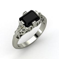 Emerald-Cut #Black Onyx, Solitaire, Prong Set Ring in Sterling Silver