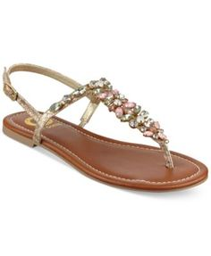 4af4c7f09180b G by GUESS Leesure Jeweled Flat Sandals Shoes - Sandals   Flip Flops -  Macy s