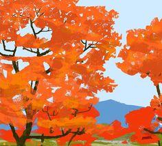 #wip #process #illustration #illustrator #autumn #autumnleaves #trees #nature #park #japan #tatsurokiuchi #life #happy #紅葉 #もみじ狩り #日本 #イラストレーション #イラスト
