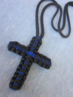 Handmade Thin Blue Line Paracord Cross Necklace by wearartbyjulie