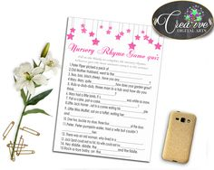 Check out Twinkle Little St.... Find it here: http://snoopy-online.myshopify.com/products/twinkle-little-star-nursery-rhyme-quiz-game-baby-shower-girl-glitter-pink-theme-printable-digital-files-jpg-pdf-instant-download-bsg01