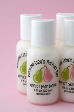 "Looking for cute ideas for a twins shower? Welcome the ""perfect pair"" with Perfect Pear lotion favors, personalized for the mom-to-be."