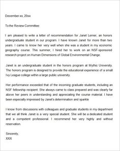 Letter Of Recommendation For Graduate School From Employer In Word - Grad school letter of recommendation template