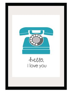 Hello I Love You  85x11 and 8x10 Print  Retro by TidbitsStudio, $15.00