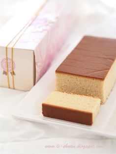 Castella cake  ( popular Japanese sponge cake) ( Whipping method) Here are now many varieties made with ingredients such as powdered green tea, brown sugar, and honey.