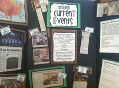 I would love to do this idea with my future classroom. I would have students bring in current events that they have found, and put them all up for everyone to see. This would allow students to remember happenings from the past present and future. Also a cool decoration idea.