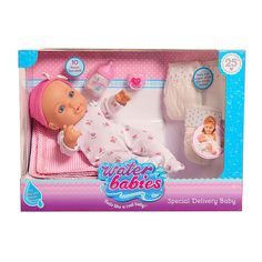 """Waterbabies is the most realistic doll ever and this beloved classic line of baby dolls is celebrating its 25th Anniversary!  Waterbabies are the only line of baby dolls with the water-fill technology that makes them move, wiggle, and feel soft  just like a real baby! Bring the precious experience of nurturing a baby to life with the 16"""" Waterbabies Special Delivery Doll! This amazing doll features beautiful life-like eyes, is dressed in a soft heart printed sleeper and pink hat, and even…"""