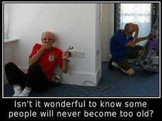 I am going to be like the one in the red shirt... Giggling and enjoying life for as long as i can... With Gods help...
