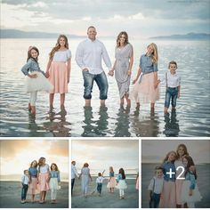 Oct 2019 - I absolutey adore this photo shoot. I love photos at the beach because that is where my heart is! I also like this color combination. I absolutey adore this photo shoot. I love photos at the beach because that is where my heart is! Spring Family Pictures, Large Family Photos, Family Beach Pictures, Family Pics, Beach Photos, Family Portrait Outfits, Family Beach Portraits, Family Portraits What To Wear, Family Posing