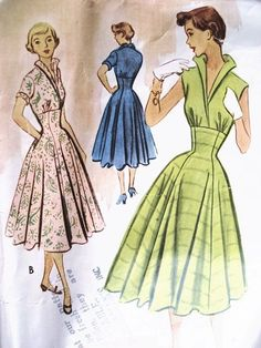 Vintage 50s McCalls 8835 Dress Pattern ROCKABILLY High Waist Fitted Midriff Dress ,Stand Up Wing Collar, Full Skirt Vintage Sewing Pattern