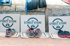 Shoes displayed on the street at the first Street Store.