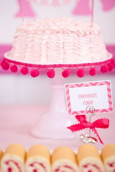pom pom trim on cake stand