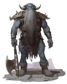 Giant, Frost (from the D&D fifth edition Monster Manual). Art by Justin Sweet.