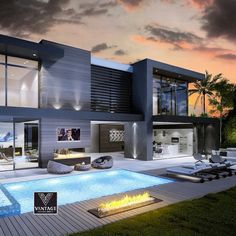 I love the modern scandinavian mansions because I like the idea of houses with many windows for natural lighting. Modern Villa Design, Modern Exterior House Designs, Dream House Exterior, Modern Architecture House, Architecture Design, Bungalow House Design, Fancy Houses, Luxury Homes Dream Houses, Modern Mansion