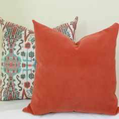 Coral velvet pillow cover 16x16 18x18 20x20 22x22 by JoyWorkshoppe