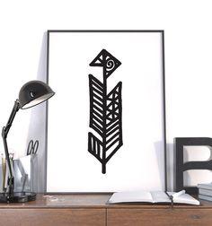 Large Geometric Feather, Hand Drawn, Modern Wall Art, Vector