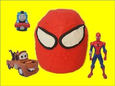 GIANT SPIDERMAN SURPRISE EGG OPENING Thomas and Friends Toy Train & Disney Cars Toys