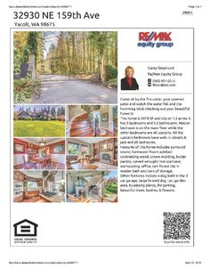 Real Estate for Sale at $650,000! Come and view this five Bedroom, three full and one half Bath, 3478 square foot two story Early Dawn Estates home with Master on Main on 1.5 acres in a gated community located at 32930 NE 159th Avenue, Yacolt, Washington 98675 in Clark County area 66 which is the Yacolt area in Clark County. The RMLS number is 16319513. It has two wood burning fireplaces and is not considered to be a view home. It was built in 2005 and the local high school is Battle Ground…