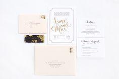 Elegant Gold Foil Wedding Invitations via @Oh So Beautiful Paper: http://ohsobeautifulpaper.com/2013/11/anna-maxs-elegant-gold-foil-wedding-invitations/   Invitation Design: @Lindsay Zogas   Calligraphy: Angelique Ink   Photo: Paul Rich Studio #calligraphy #goldfoil #wedding