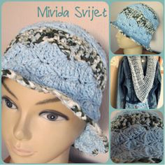 crocheted summer hat and a triangle scarf