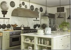 12 vintage kitchen collections featured on (Mostly) Wordless Wednesday - Living Vintage Elegant Kitchens, Beautiful Kitchens, Green Cabinets, Kitchen Cabinets, Upper Cabinets, Kitchen Walls, Wall Cabinets, White Cabinets, Pan Storage