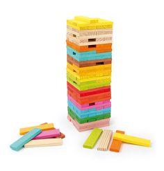 """4752 Holzbausteine """"Konstruktion"""" Mit diesen kunterbunten Bausteinen sind der Fantasie keine Grenzen gesetzt. Ob ein lustiges Schiff, ein eigenes Häuschen oder einen riesigen Turm, mit diesen Steinen kann man alles bauen, was das Herz begehrt. Natürlich werden hier Konzentration, Geduld und Geschick gefordert! Auch, wenn alles wieder in sich zusammenfällt... Plättchen: ca. 9,5 x 2 x 0,8 cm Turm insg.: ca. 9,5 x 9,5 x 31 cm"""