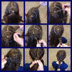 Two French braids with a circle in the middle.