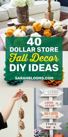 40 Must-See Dollar Store DIY Fall Decor Ideas Check out these Fabulous DIY Fall Farmhouse Dollar Store Hacks that will help you transform your home for the best easy fall decorating on a budget! Dollar Tree Fall, Dollar Tree Crafts, Diy Fall Wreath, Fall Diy, Dollar Store Hacks, Dollar Stores, Fall Home Decor, Diy Home Decor, Decorating On A Budget