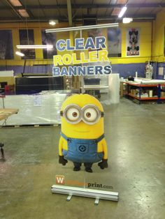 Factory shot of the 850mm clear roller banner- SO COOL! Looks like Minion Dave is really standing there!