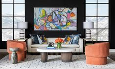 Today's take on the modern tradition. Smooth, curvy contours replace sharp angles. Bold colors are subdued and softened, like the luxe terra cotta of the shapely Clementine Chair and the exuberant tones of the abstract art. Organic elements appear in the mid-century inspired Ludwig Sofa floating on a plinth of wood dowels, and the sculptural Arlo Coffee Table with hefty, wood pedestals.