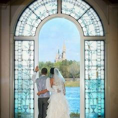 Newlyweds can see the Cinderella Castle from the altar of Disney World's wedding pavilion.