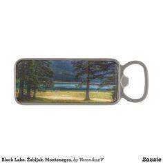 Black Lake. Žabljak. Montenegro. Magnetic Bottle Opener. artwork, photo, photography, decor, design, montenegro, crno jezero, landscape, lake, black lake, scenery, nature, travel, žabljak, tourism, durmitor, mountain, freshness, coolness, day, sunny, forest, pine tree, pine, coniferous, tree, tranquility, blue, green,  gift, sale, buy, home decor, comfort