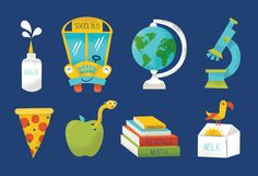 Icons from Chronicle Books Back to School campaign by Tad Carpenter Creative