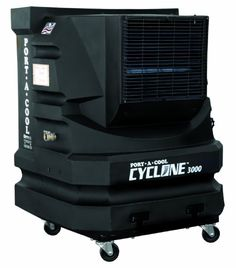 Portacool PAC2KCYC01 Cyclone 3000 Portable Evaporative Cooling Unit with 700 Square Foot Cooling Capacity, Black  Portacool PAC2KCYC01 Cyclone 3000 Portable Evaporative Cooling Unit with 700 Square Foot Cooling Capacity, Black The Portacool PAC2KCYC01 Cyclone 3000 Portable Evaporative Cooling Unit lowers temperatures up to 30-degrees Fahrenheit. The unit functions at an energy efficient 5.6-amps for the pump and motor. This unit is made of a durable one-piece, rust-free, leak-proof m..