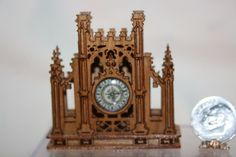 Miniature Dollhouse Antique French Cathedral Mantel Clock Wood Artisan 1:12 NR #Artisan