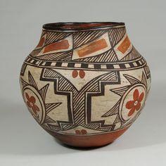 "#adobegallery - Isleta Pueblo Four Color Polychrome Water Jar, circa 1900. Potter Unknown      Category: Historic     Origin: Isleta Pueblo     Medium: clay, pigment     Size: 8-7/8"" height x 9-1/2"" diameter     Item # C3711B"