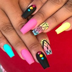 Coffin nails are not that scary after all! Coffin shape is one of the most beautiful ones, and it suggests so much room for the experimentation! Tribal Nail Designs, Tribal Nails, Colorful Nail Designs, Nail Art Designs, Cute Nails, Pretty Nails, My Nails, Acrylic Nail Shapes, Best Acrylic Nails