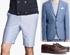 To get Smart business look combine some Oxford shorts with a Homme Slim Blazer and some Deck shoes #h&m #topman #summerlooks