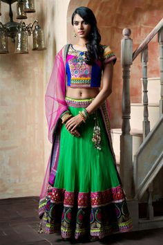 Green and blue colorful chaniya choli