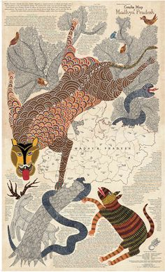 The Gond Adivasi style of art offers a vigorous and vibrant expression of dances, flora and fauna that depict adivasi lives and beliefs in Madhya Pradesh. Gond Painting, Map Painting, India Crafts, Japanese Art Prints, Craft Museum, India Map, Indian Folk Art, Indian Heritage, Tribal Art