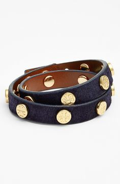 Gorgeous for fall! Navy Tory Burch logo leather wrap bracelet.