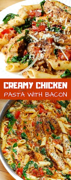 The DELICIOUS creamy sauce permeates every single bite of this dish! - The ingredients and how to make it please visit the website Creamy Chicken Pasta, Creamy Pasta Recipes, Cooked Chicken, Chicken Flavors, Chicken Recipes, Chicken Meals, Shrimp Recipes, Crockpot Recipes, Healthy One Pot Meals