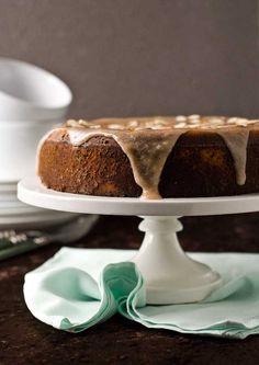 Gluten Free Grain Free Dairy Free Apple Cake with Cinnamon Glaze