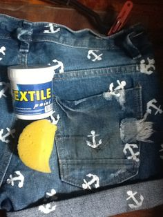 Use an anchor stencil and textile paint to make patterned jean shorts