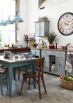 Love the big clock in the kitchen