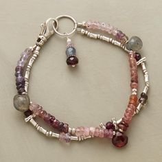 "PURPLE PROCESSION BRACELET -- Labradorites lend iridescence to our double-strand cavalcade of multicolored spinels, garnets and sterling silver beads. Exclusive with toggle clasp. Handmade in USA. Approx. 7-1/4""L."