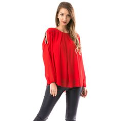 Bluza dama rosie Long Sleeve, Sleeves, Tops, Women, Fashion, Moda, Women's, Fashion Styles, Woman