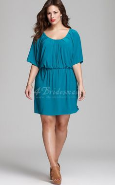 plus size short bridesmaid dresses with sleeves | ... With Sleeves Short/Mini Pool Chiffon Plus Size Dresses(PSD006) #PSD006
