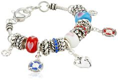"""Nautical Silver-Tone Charm Bracelet, 7.5"""". Made in China."""