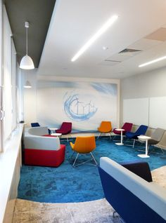 Office Fit Out - Team Room - Brainstorm - Screen - Backlit - Lounge Chair - Vescom - Digital Wallpaper - Carpet Design - Interface Net Effect - Sustainable - Blue - Cream - ESB HQ, Dublin, by Think Contemporary